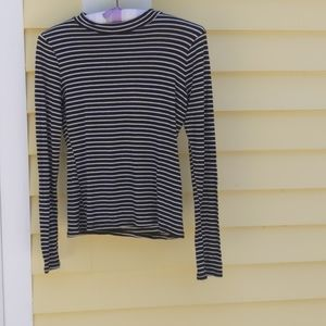 LULU'S Black and White Striped Long-Sleeved Shirt